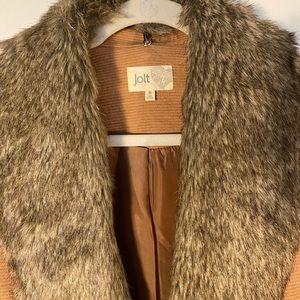 Jolt Vest - Caramel and Faux Fur Sz M